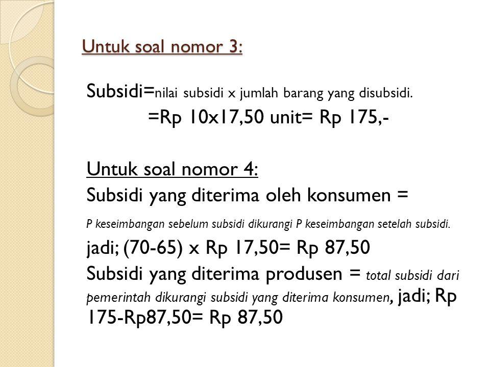 Subsidi=nilai subsidi x jumlah barang yang disubsidi.