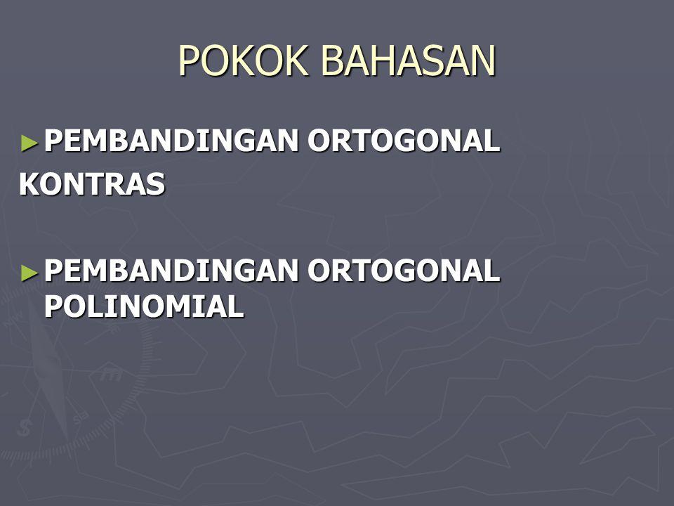 POKOK BAHASAN PEMBANDINGAN ORTOGONAL KONTRAS