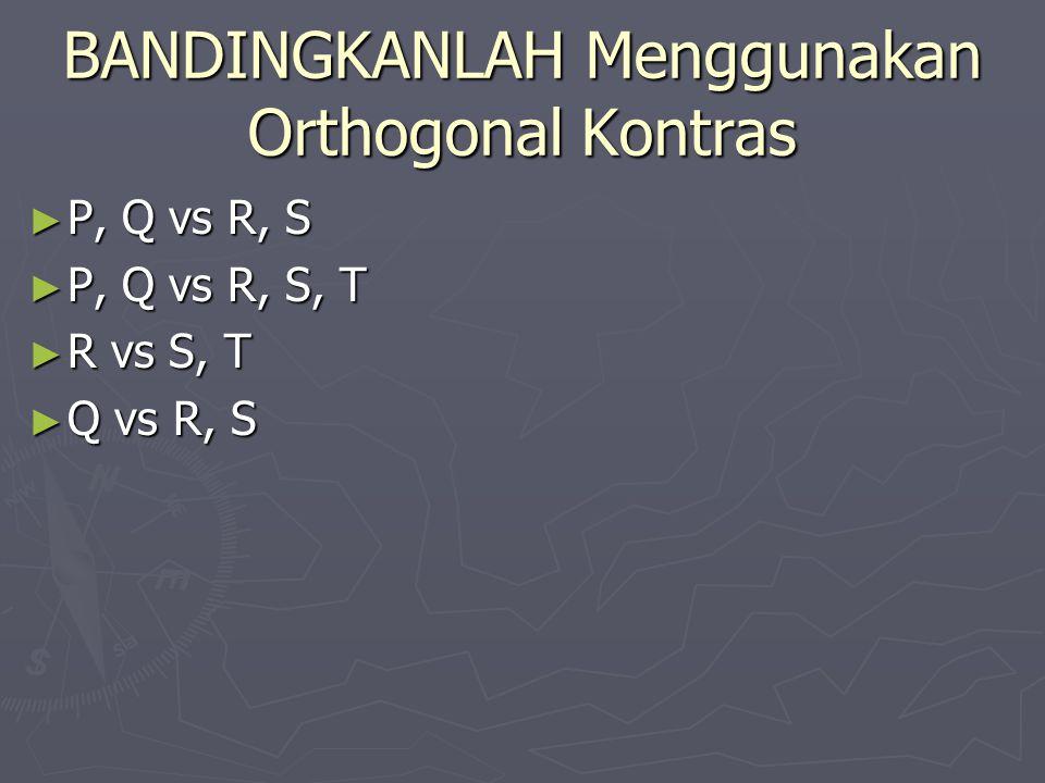 BANDINGKANLAH Menggunakan Orthogonal Kontras