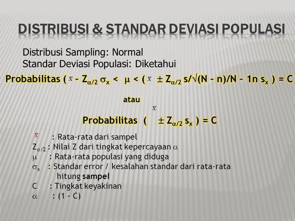 Probabilitas (  Z/2 sx ) = C
