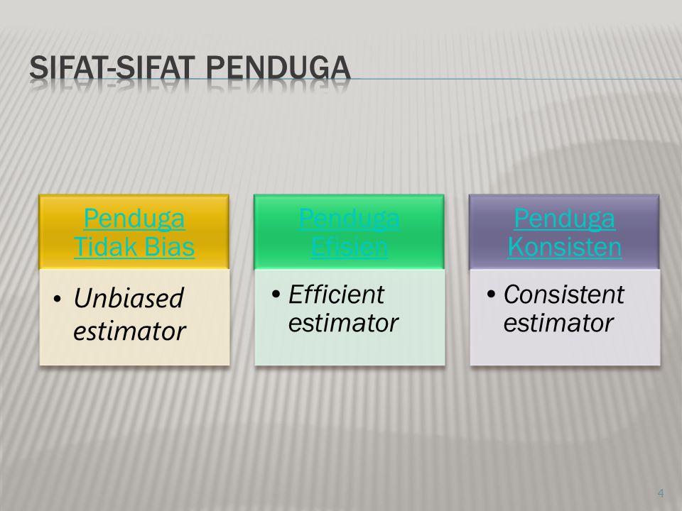 SIFAT-SIFAT PENDUGA Penduga Tidak Bias Unbiased estimator