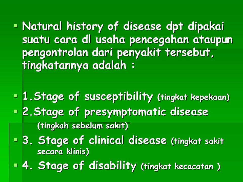 Natural history of disease dpt dipakai suatu cara dl usaha pencegahan ataupun pengontrolan dari penyakit tersebut, tingkatannya adalah :