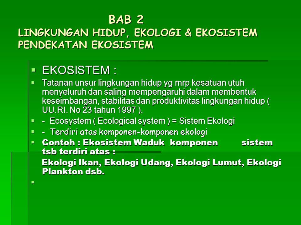 BAB 2 LINGKUNGAN HIDUP, EKOLOGI & EKOSISTEM PENDEKATAN EKOSISTEM