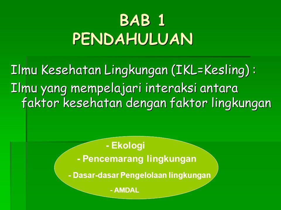 BAB 1 PENDAHULUAN Ilmu Kesehatan Lingkungan (IKL=Kesling) :