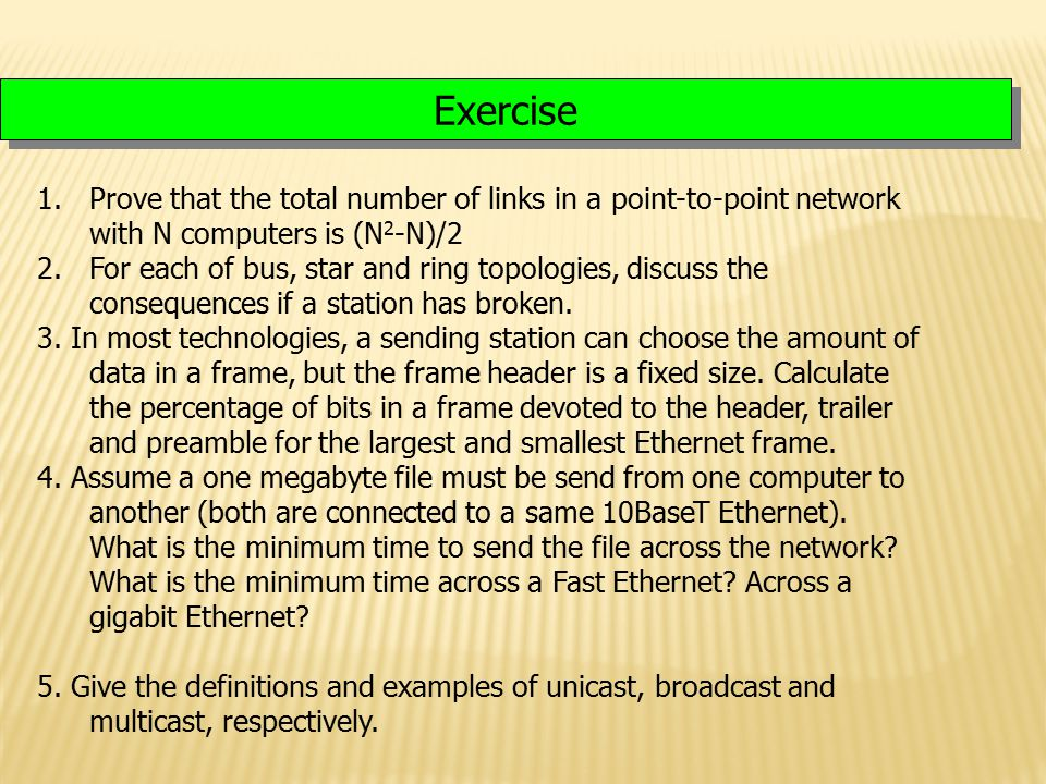 Lecture 4 Exercise. Prove that the total number of links in a point-to-point network with N computers is (N2-N)/2.