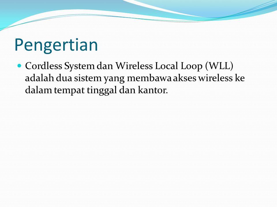 Pengertian Cordless System dan Wireless Local Loop (WLL) adalah dua sistem yang membawa akses wireless ke dalam tempat tinggal dan kantor.