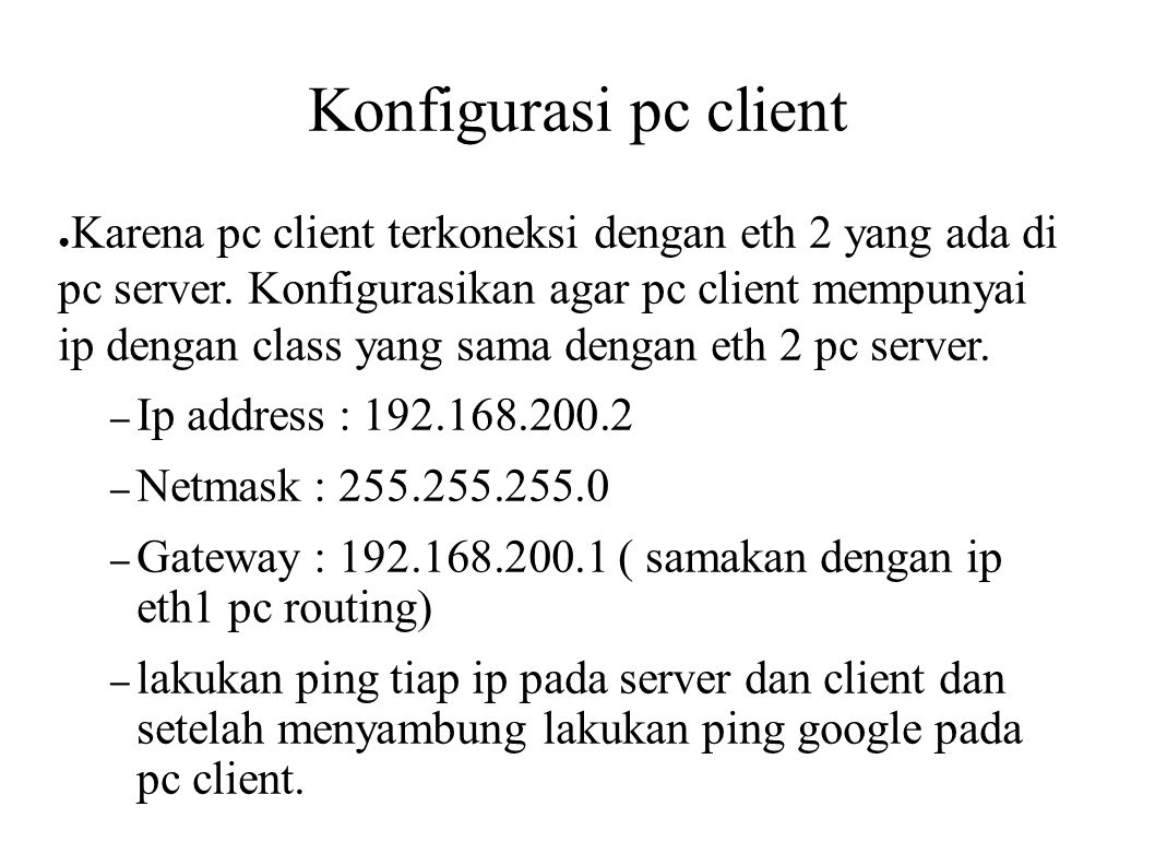 Konfigurasi pc client