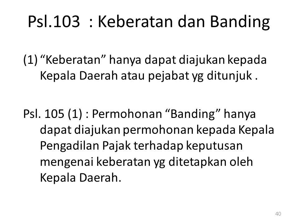 Psl.103 : Keberatan dan Banding