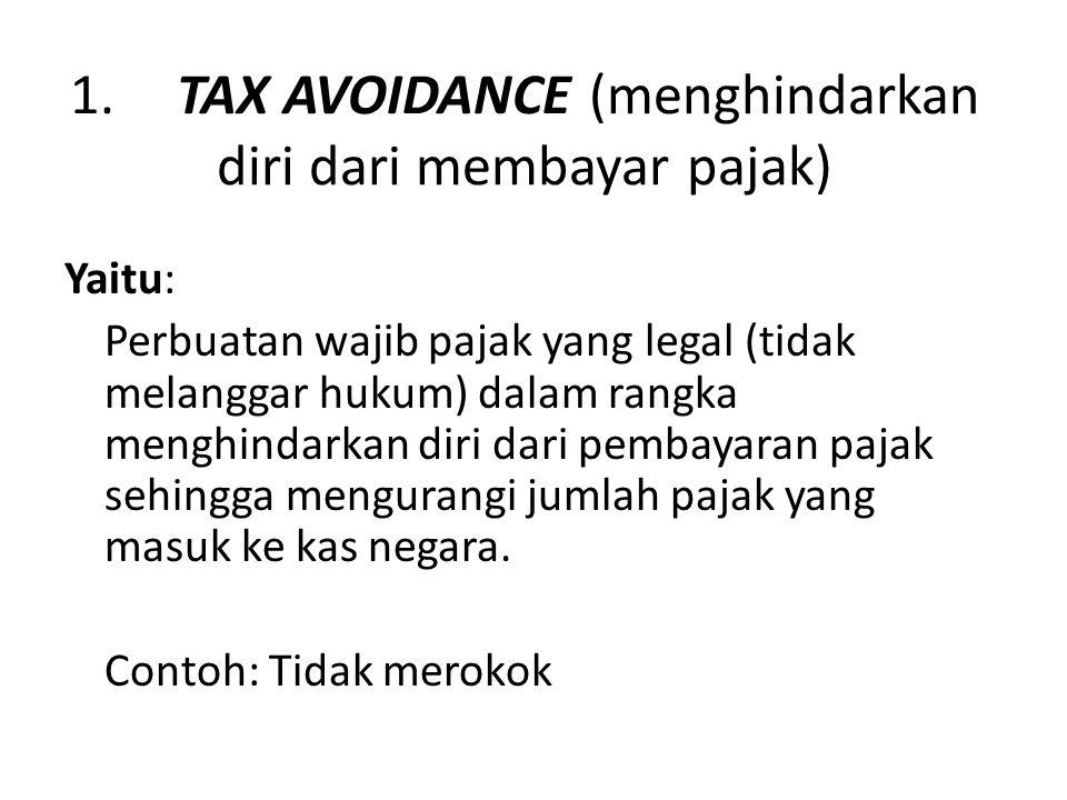 1. TAX AVOIDANCE (menghindarkan diri dari membayar pajak)