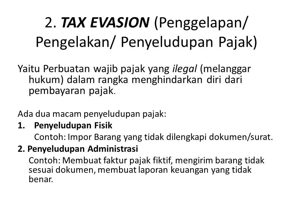 2. TAX EVASION (Penggelapan/ Pengelakan/ Penyeludupan Pajak)
