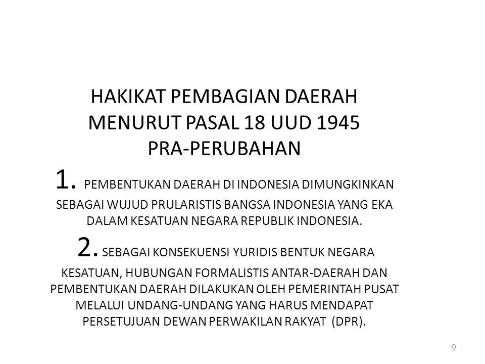 HAKIKAT PEMBAGIAN DAERAH MENURUT PASAL 18 UUD 1945 PRA-PERUBAHAN 1