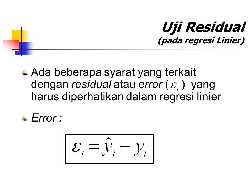 Uji Residual (pada regresi Linier)