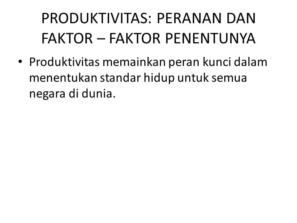 PRODUKTIVITAS: PERANAN DAN FAKTOR – FAKTOR PENENTUNYA