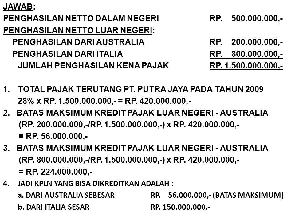 JAWAB: PENGHASILAN NETTO DALAM NEGERI RP. 500.000.000,- PENGHASILAN NETTO LUAR NEGERI: PENGHASILAN DARI AUSTRALIA RP. 200.000.000,-