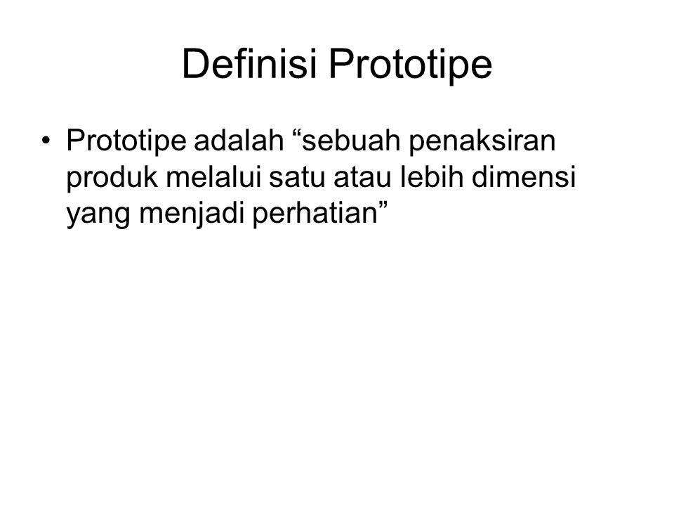 Definisi Prototipe Prototipe adalah sebuah penaksiran produk melalui satu atau lebih dimensi yang menjadi perhatian