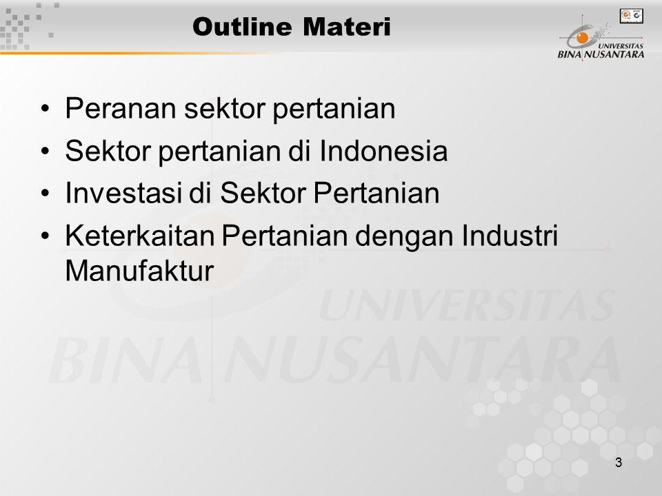 Peranan sektor pertanian Sektor pertanian di Indonesia