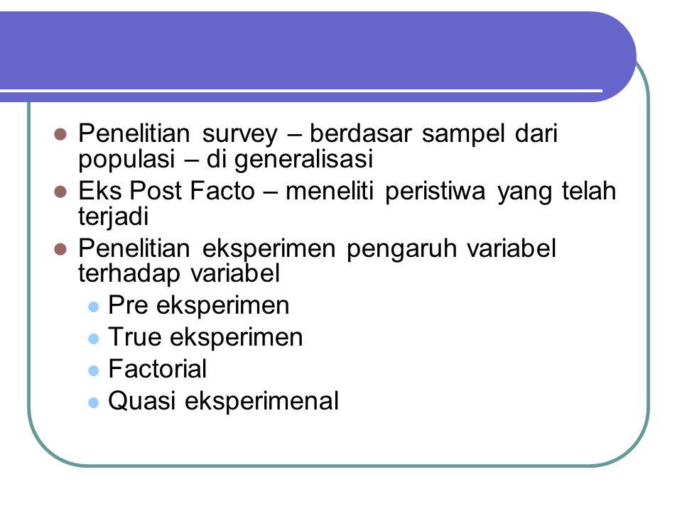 Penelitian survey – berdasar sampel dari populasi – di generalisasi