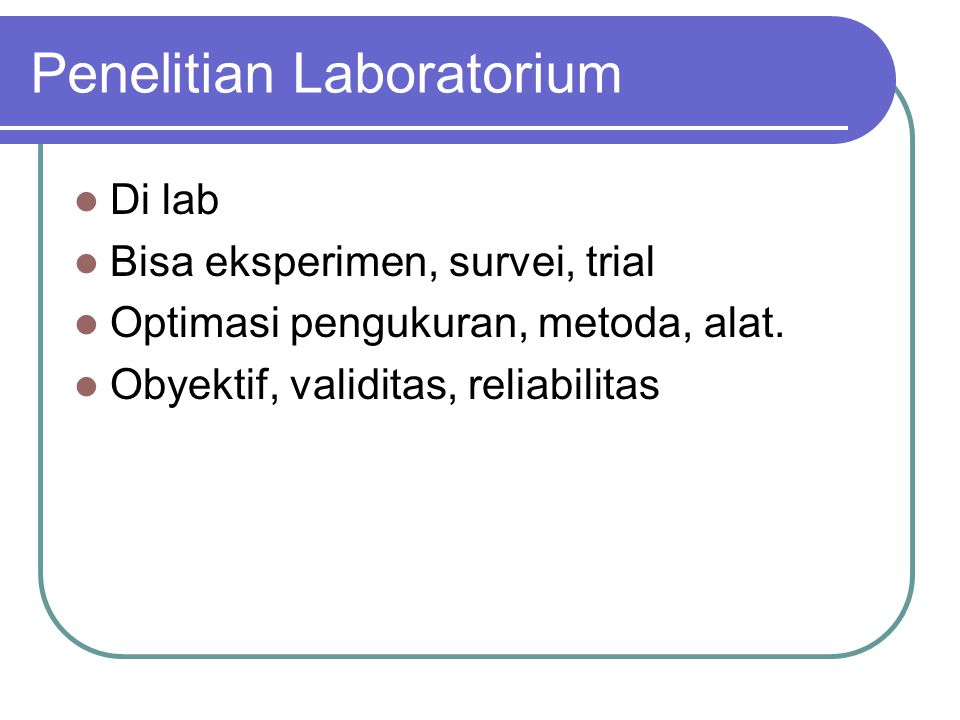 Penelitian Laboratorium