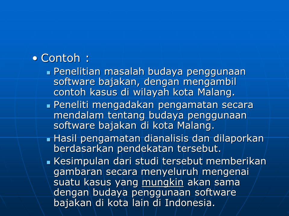 Contoh : Penelitian masalah budaya penggunaan software bajakan, dengan mengambil contoh kasus di wilayah kota Malang.