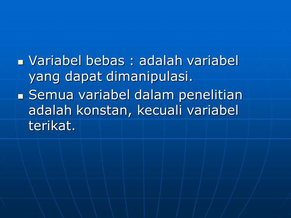 Variabel bebas : adalah variabel yang dapat dimanipulasi.