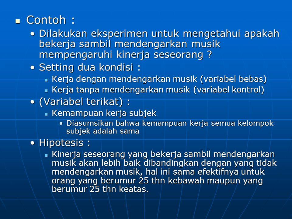 Contoh : Dilakukan eksperimen untuk mengetahui apakah bekerja sambil mendengarkan musik mempengaruhi kinerja seseorang
