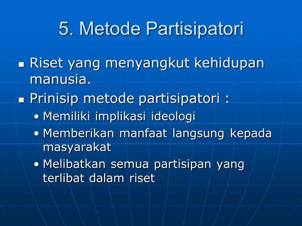 5. Metode Partisipatori Riset yang menyangkut kehidupan manusia.