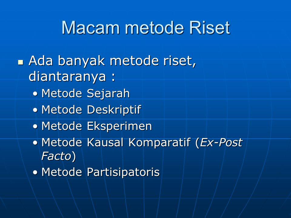 Macam metode Riset Ada banyak metode riset, diantaranya :