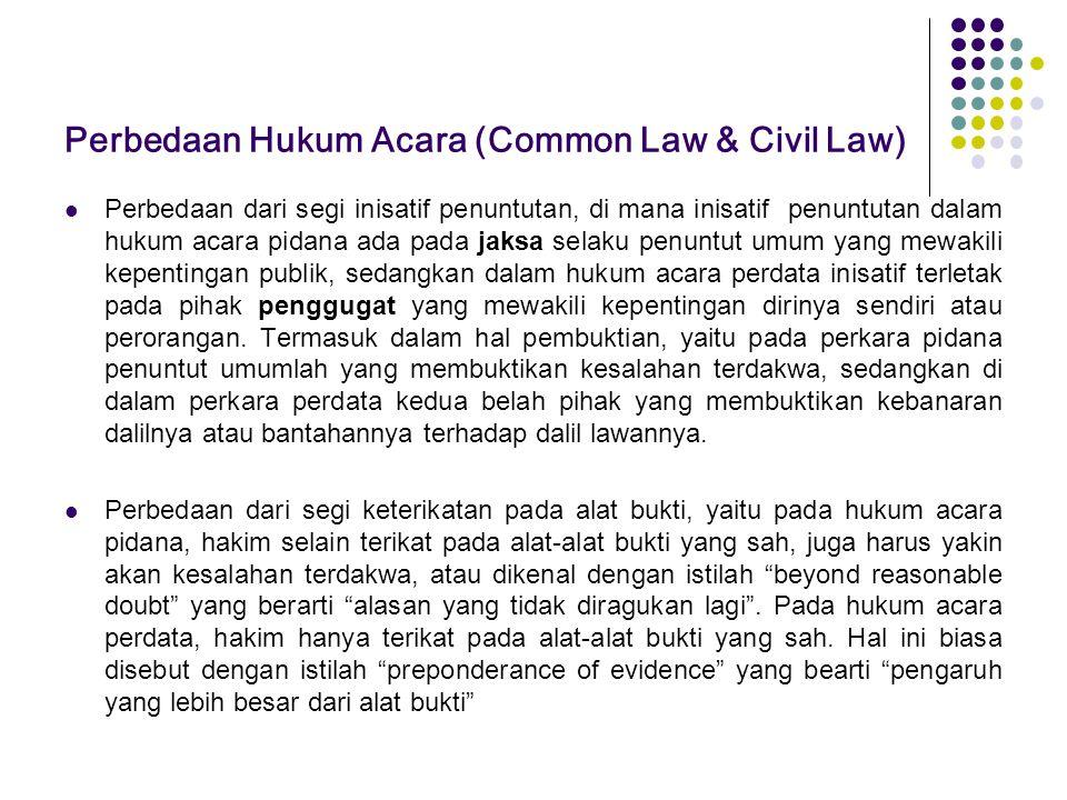 Perbedaan Hukum Acara (Common Law & Civil Law)