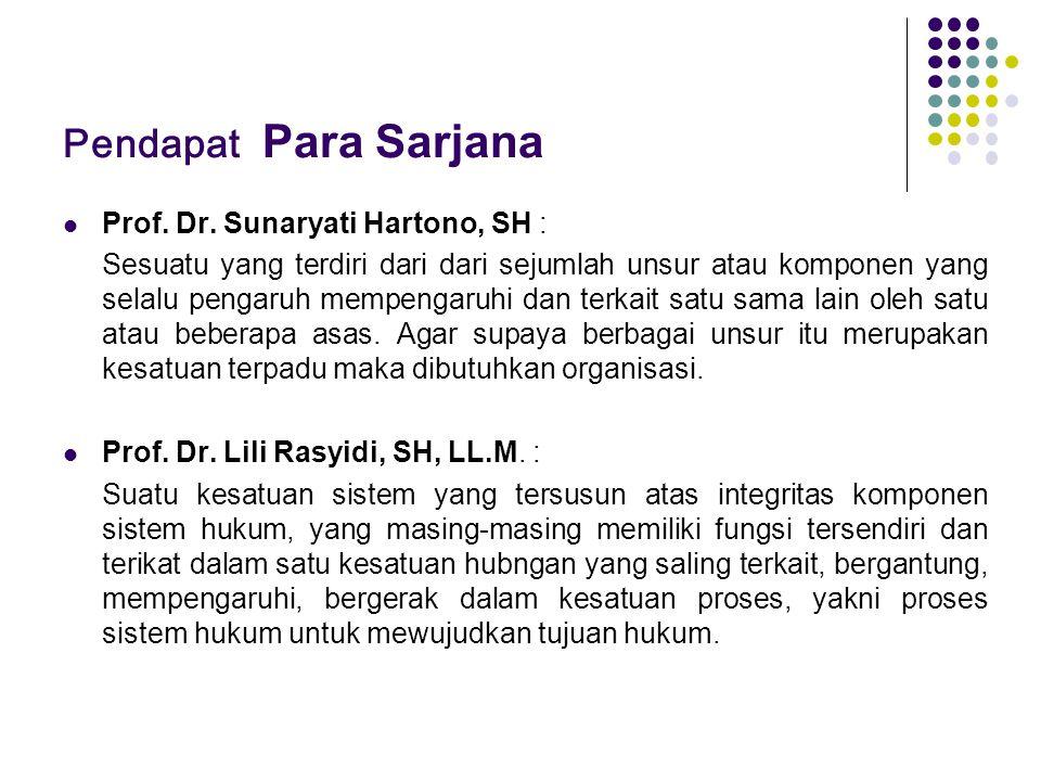 Pendapat Para Sarjana Prof. Dr. Sunaryati Hartono, SH :