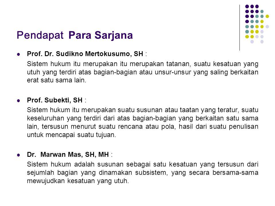 Pendapat Para Sarjana Prof. Dr. Sudikno Mertokusumo, SH :