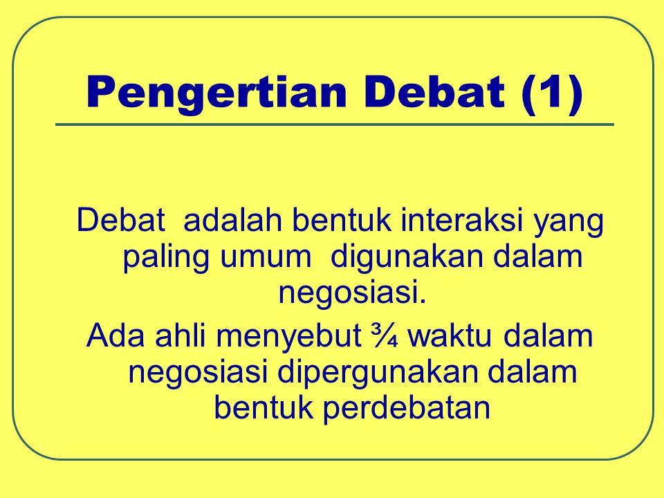 Pengertian Debat (1) Debat adalah bentuk interaksi yang paling umum digunakan dalam negosiasi.