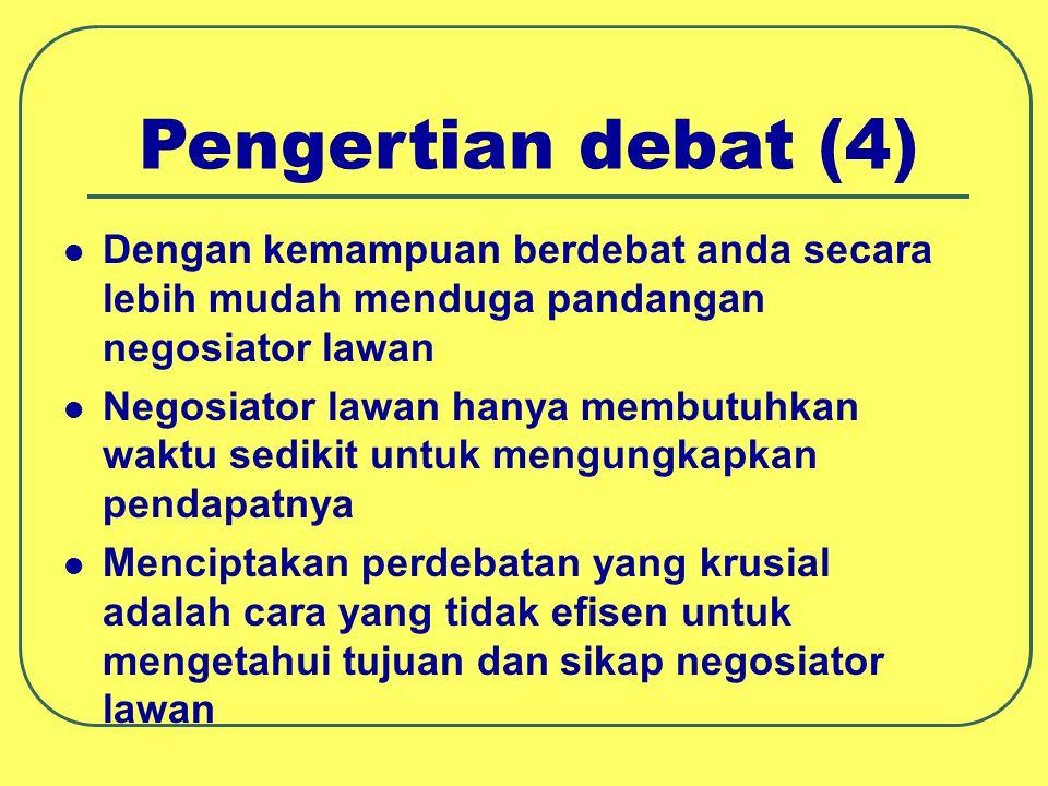 Pengertian debat (4) Dengan kemampuan berdebat anda secara lebih mudah menduga pandangan negosiator lawan.