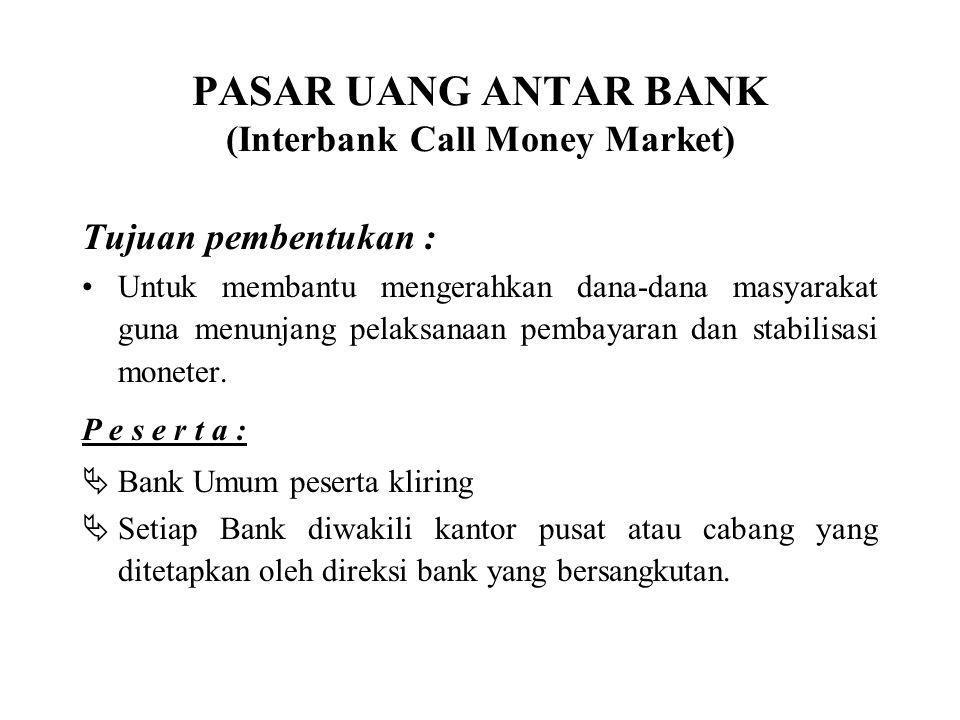 PASAR UANG ANTAR BANK (Interbank Call Money Market)