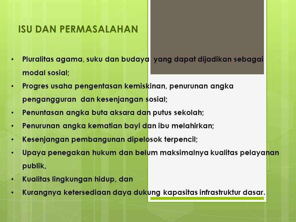 ISU DAN PERMASALAHAN Pluralitas agama, suku dan budaya yang dapat dijadikan sebagai modal sosial;