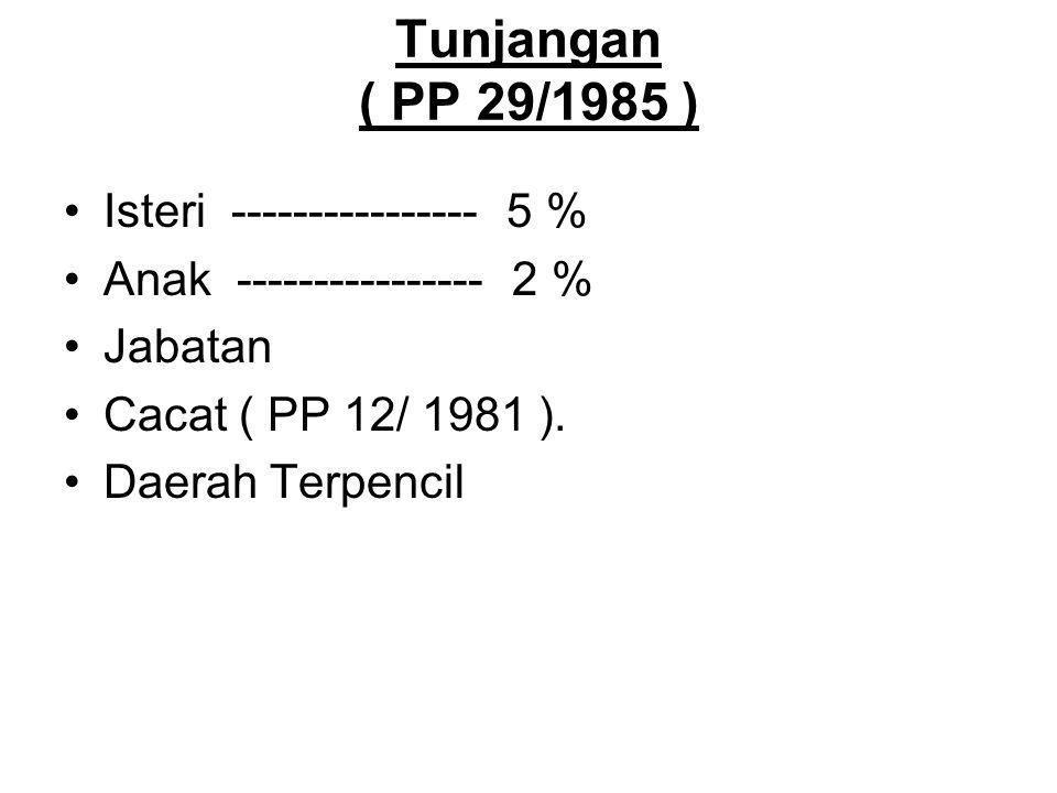 Tunjangan ( PP 29/1985 ) Isteri ---------------- 5 %