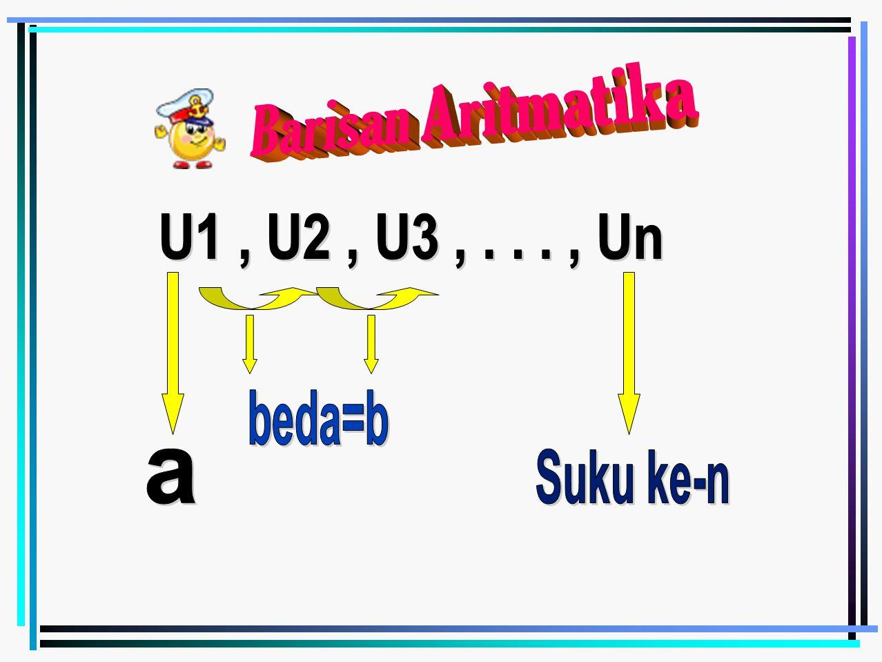 Barisan Aritmatika U1 , U2 , U3 , . . . , Un beda=b a Suku ke-n