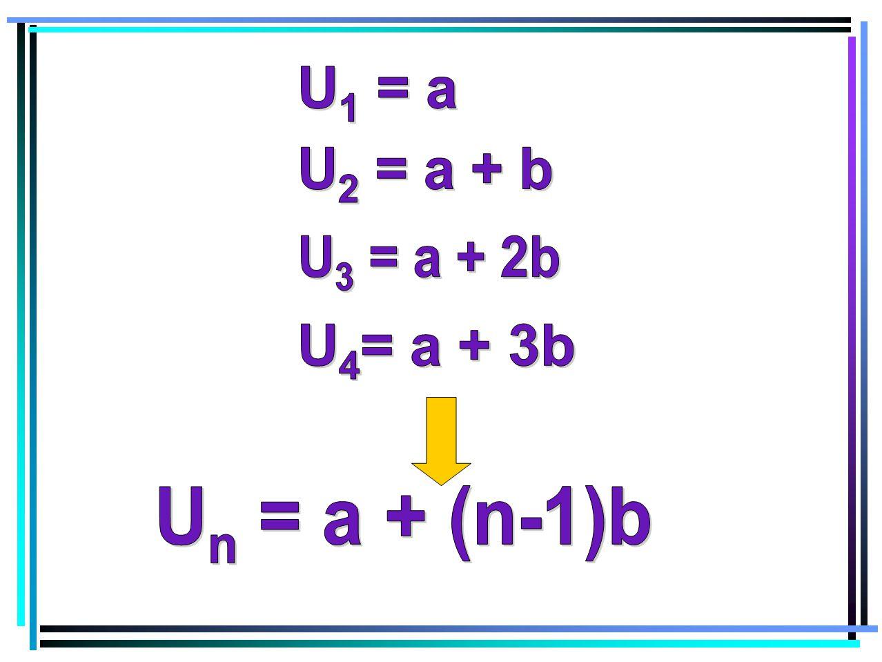 U1 = a U2 = a + b U3 = a + 2b U4= a + 3b Un = a + (n-1)b