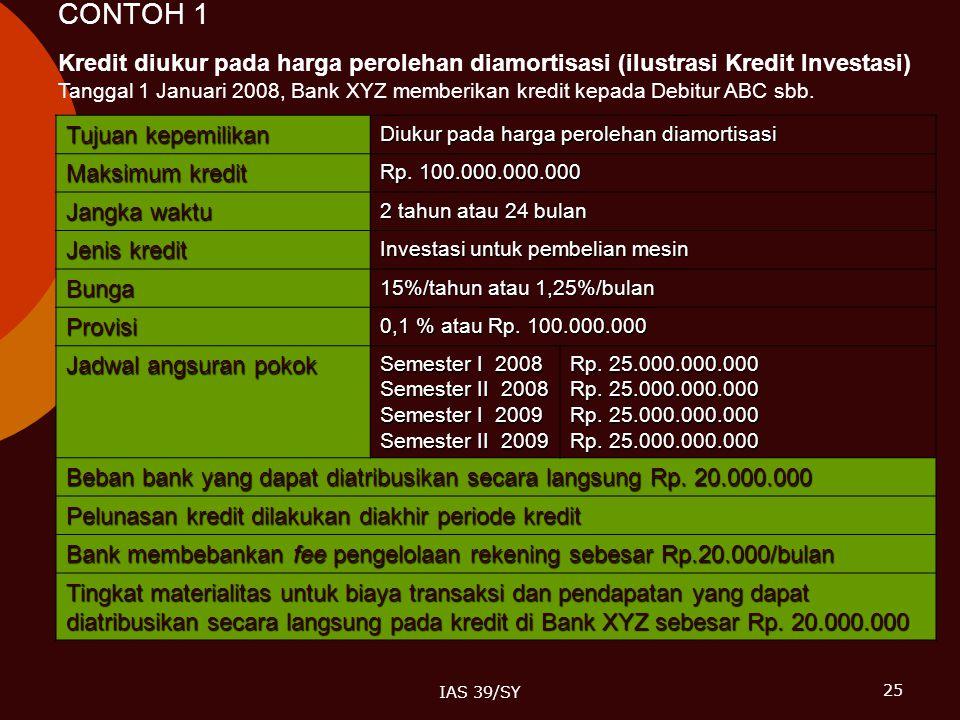 CONTOH 1 Kredit diukur pada harga perolehan diamortisasi (ilustrasi Kredit Investasi)