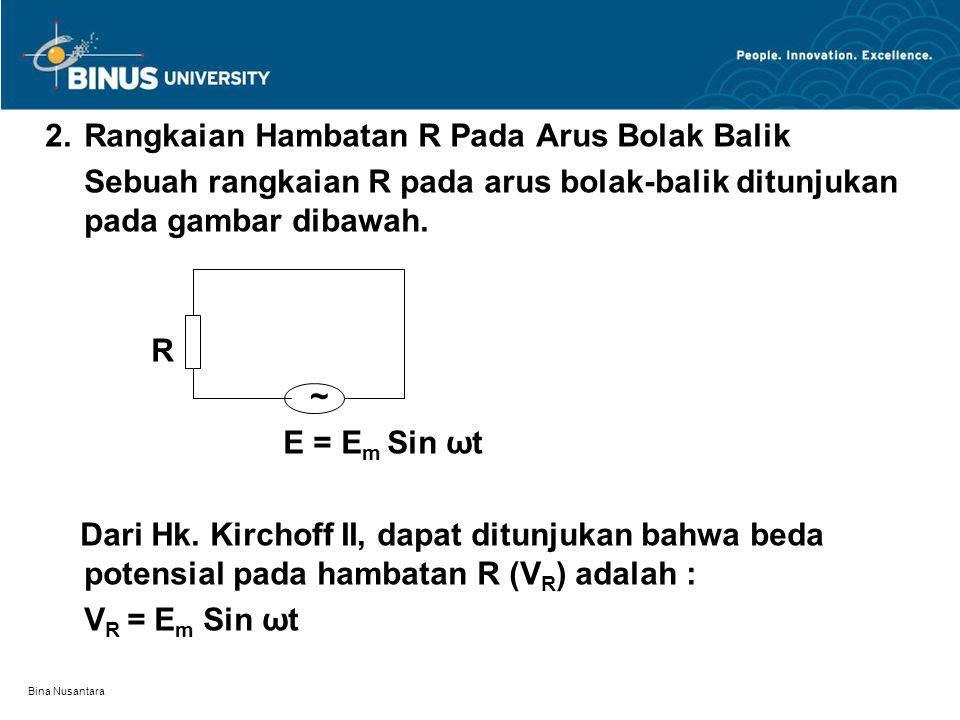 2. Rangkaian Hambatan R Pada Arus Bolak Balik