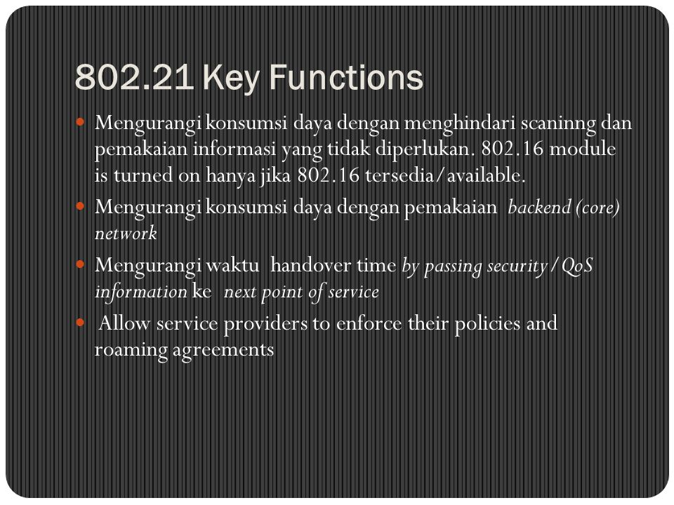 802.21 Key Functions