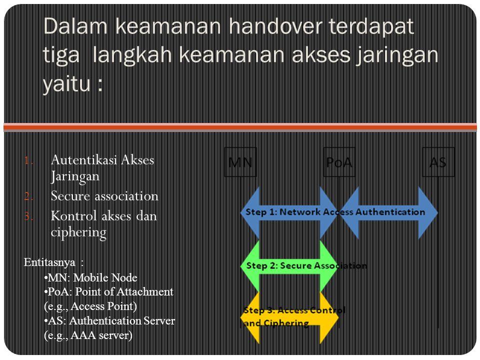 Dalam keamanan handover terdapat tiga langkah keamanan akses jaringan yaitu :