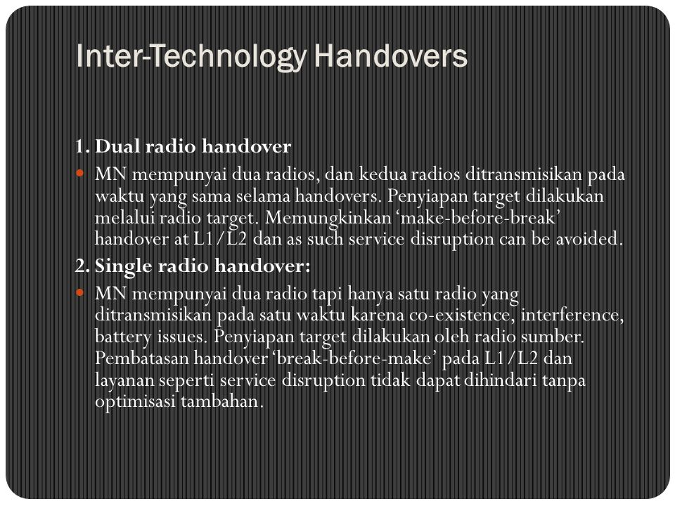 Inter-Technology Handovers