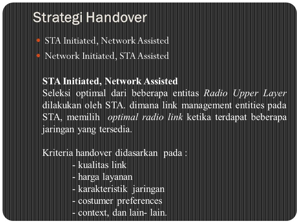 Strategi Handover STA Initiated, Network Assisted
