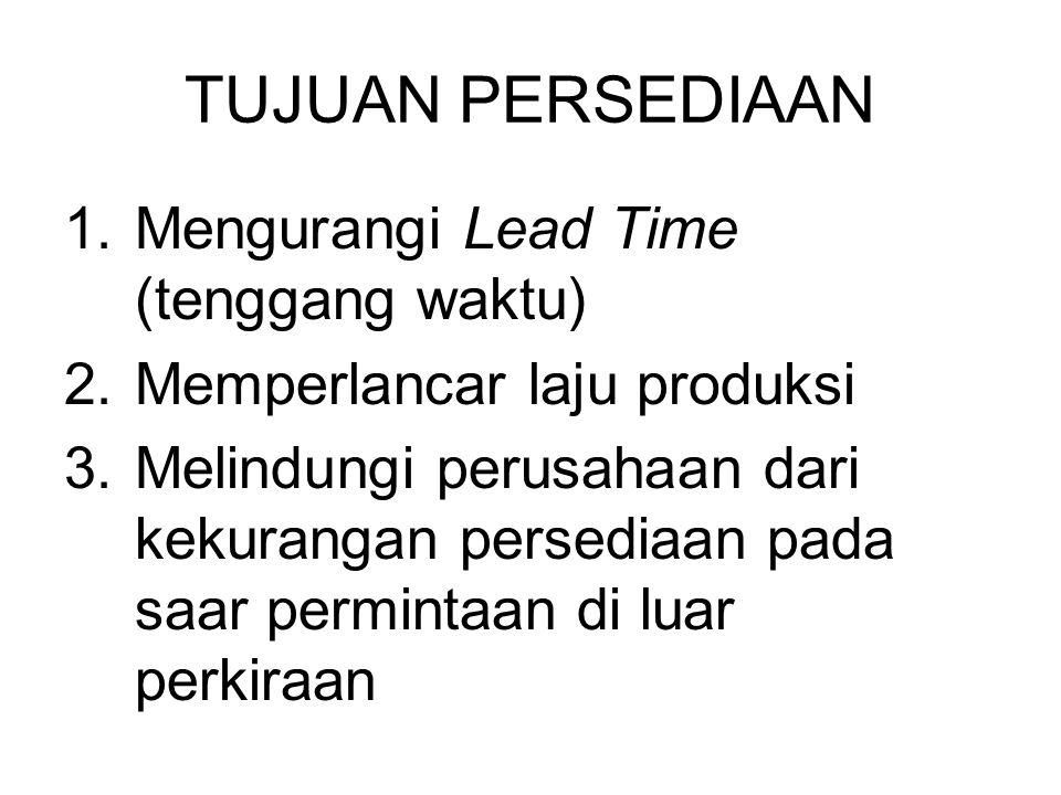 TUJUAN PERSEDIAAN Mengurangi Lead Time (tenggang waktu)