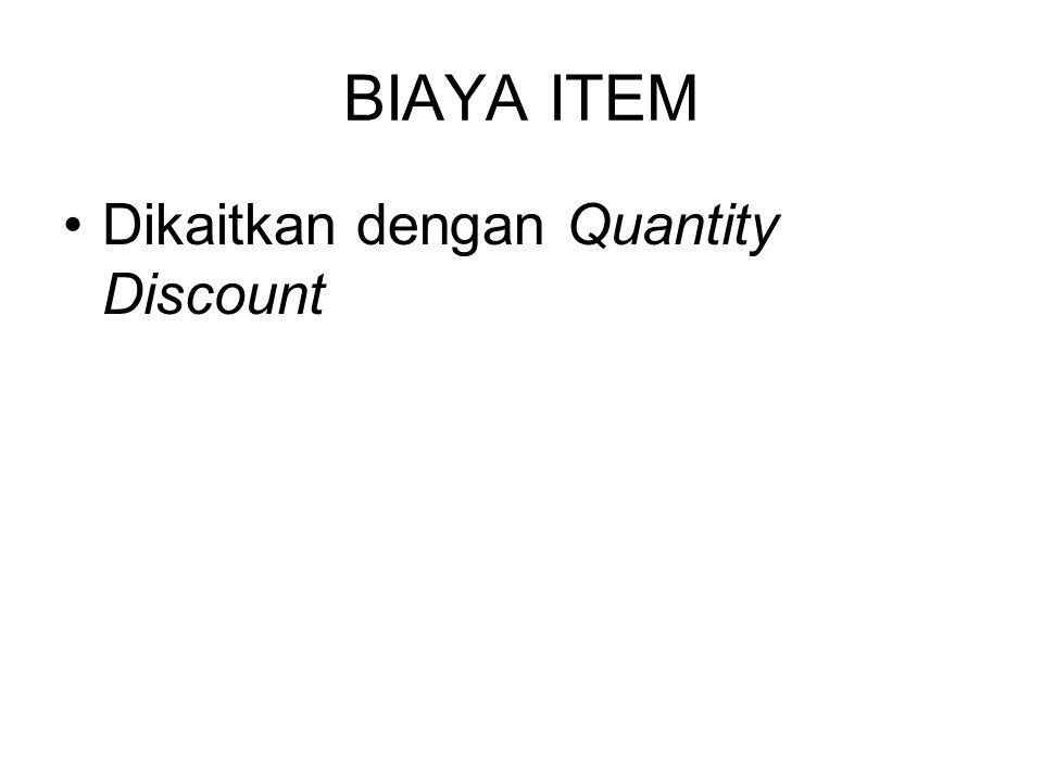 BIAYA ITEM Dikaitkan dengan Quantity Discount