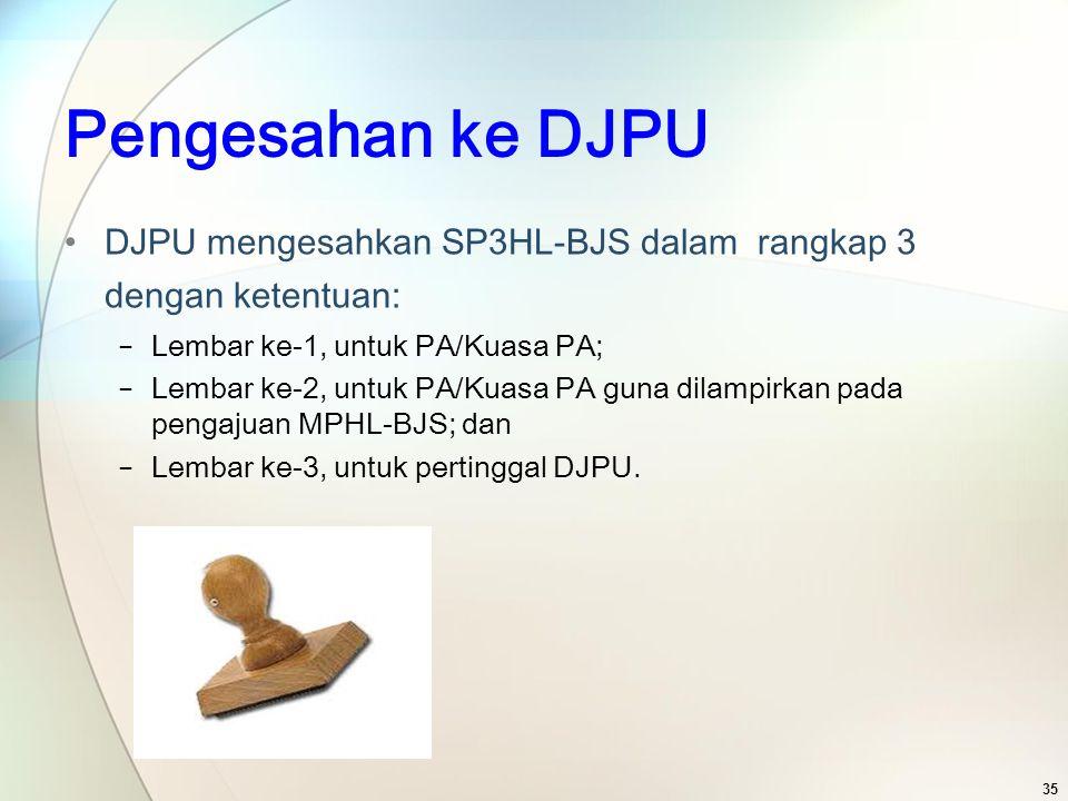 Pengesahan ke DJPU DJPU mengesahkan SP3HL-BJS dalam rangkap 3 dengan ketentuan: Lembar ke-1, untuk PA/Kuasa PA;