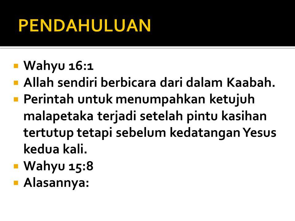 PENDAHULUAN Wahyu 16:1 Allah sendiri berbicara dari dalam Kaabah.