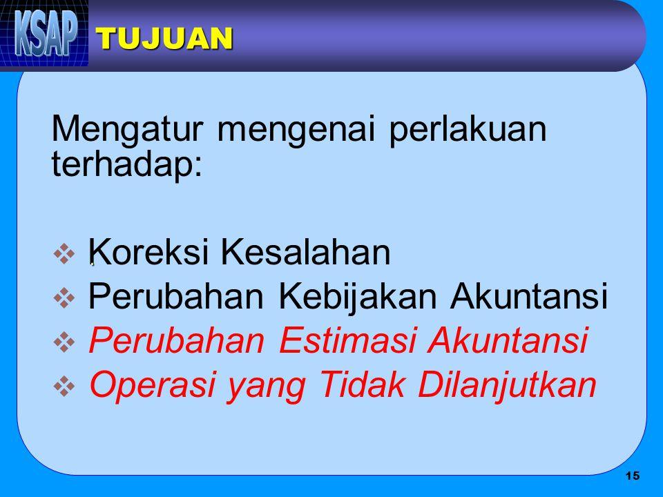 Mengatur mengenai perlakuan terhadap: