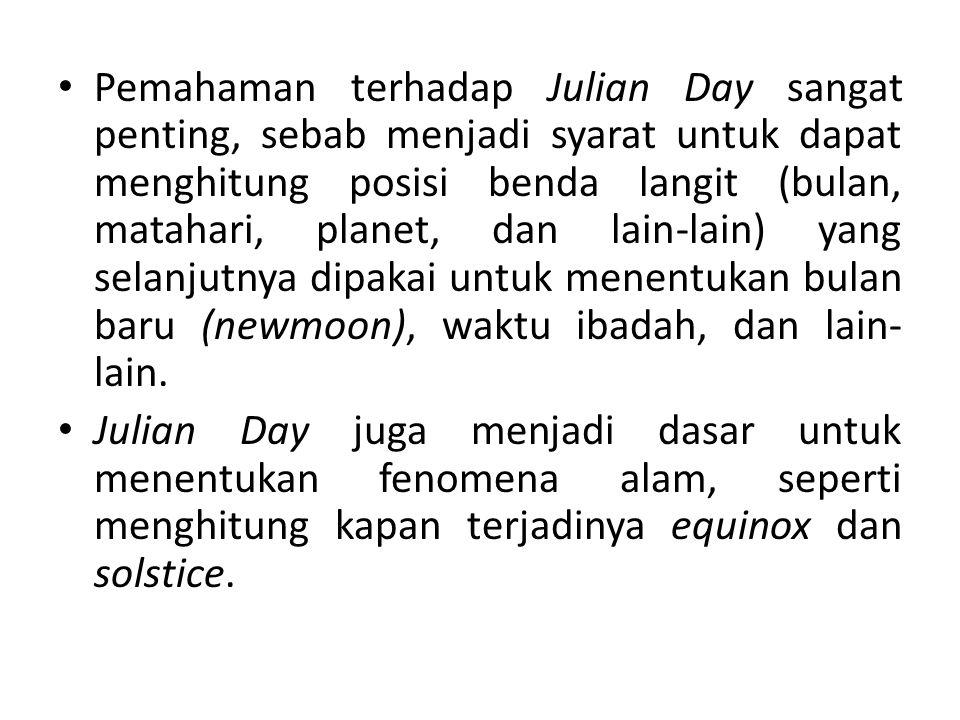 Pemahaman terhadap Julian Day sangat penting, sebab menjadi syarat untuk dapat menghitung posisi benda langit (bulan, matahari, planet, dan lain-lain) yang selanjutnya dipakai untuk menentukan bulan baru (newmoon), waktu ibadah, dan lain-lain.