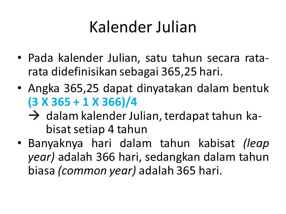Kalender Julian Pada kalender Julian, satu tahun secara rata-rata didefinisikan sebagai 365,25 hari.